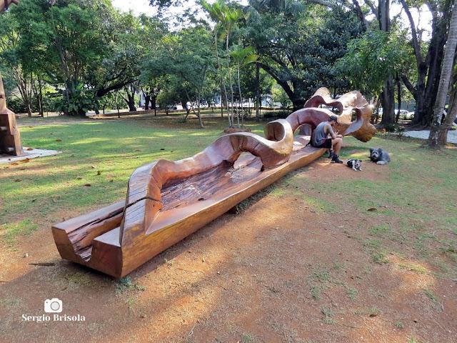 Vista ampla de uma Escultura mobiliária pública - Praça Adolpho Bloch - Jardim Paulistano