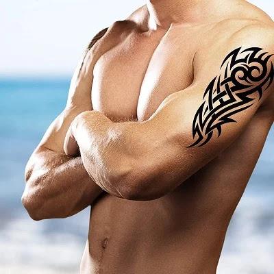 Stick on Black Temporary Tattoo Maori Tribal Body Art Sticker Transfer for arms Shoulder Aztec Polynesian Samoan Hawaiian for Adult Men and Women ( Sheets Maori Tattoos)
