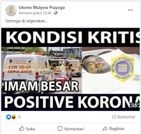"[Salah] ""Kondisi Kritis Imam Besar Positive Korona"""