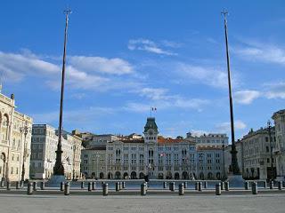 The grand Piazza Unità d'Italia, which faces the sea, is the main square in elegant Trieste