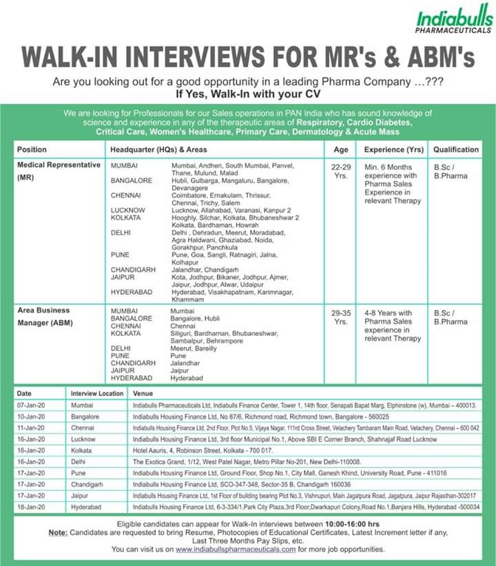 Indiabulls Pharmaceuticals Ltd - Walk in interview for Medical Representative | Area Business Manager on 10th, 11th, 16th, 17th, 18th Jan 2020