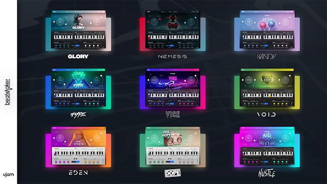 Interfaces dos Plugins do pacote UJAM - Beatmaker Bundle 2.1.2