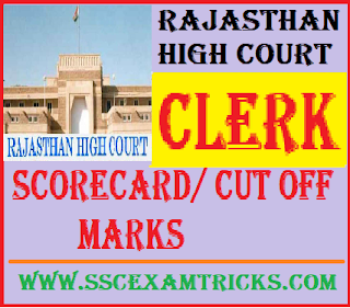 Rajasthan High Court RHC Clerk Scorecard/ Cut off