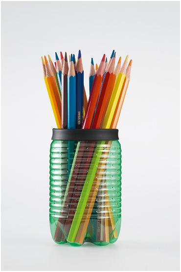 10 maneiras de reciclar garrafas pet: Porta lápis