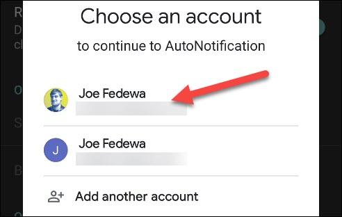 حدد حساب Google الخاص بك.