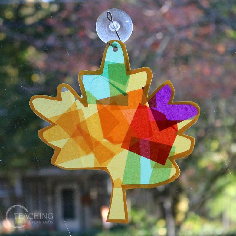 colourful leaf suncatcher craft