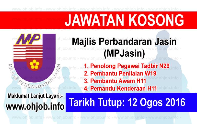 Jawatan Kerja Kosong Majlis Perbandaran Jasin (MPJasin) logo www.ohjob.info ogos 2016
