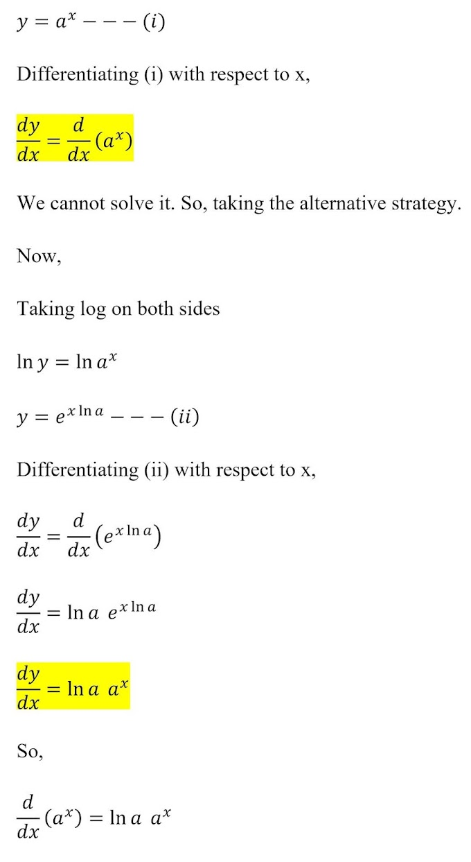 Derivative of y=a^x