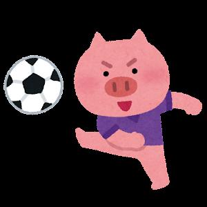 サッカーをやる動物のキャラクター(ブタ)