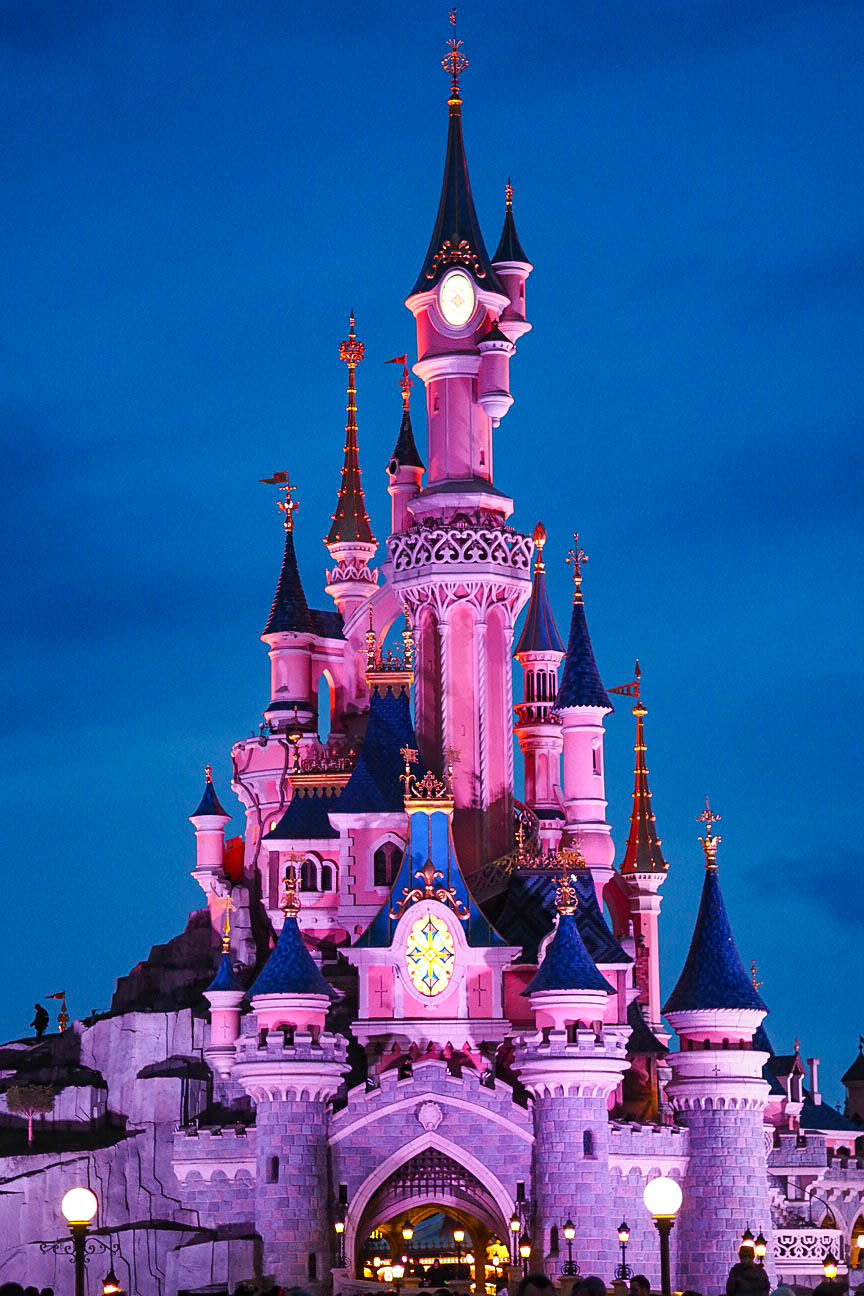 Sleeping Beauty's castle at night, Disneyland Paris