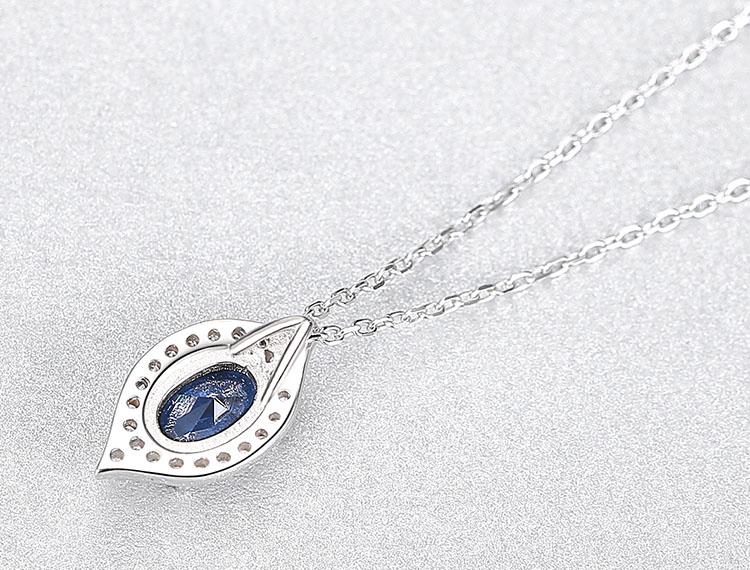 蘇菲亞橄欖形人造寶石 925純銀項鍊