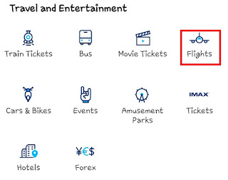 for Online Flight Ticket Booking Choose Flight Option in Paytm App oe Website under Travel and Entertainment Section.