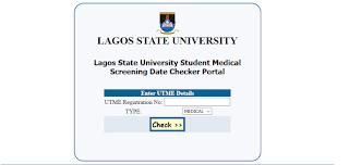 LASU Medical Screening Date Checker Portal 2020/2021 [Stream 1 & 2]