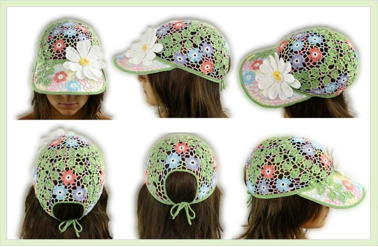Forrar una Gorra de Apliques de Crochet