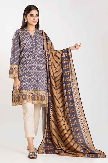 khaadi winter collection printed purple khaddar suit