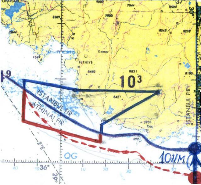 Το πεντάγωνο των ελληνικών παραχωρήσεων στην περιοχή ανατολικά της Ρόδου