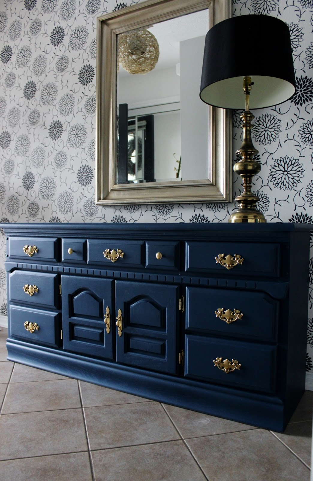 Re Tiqued By Rae Bond Navy Blue And Bright Gold Dresser