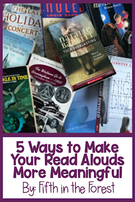 """Pin Image Title """"How to Make Read Alouds More Meaningful"""" along with a pile of books on the upper elementary level"""