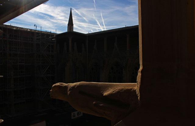Gárgola original del ala norte del claustro de la catedral de Pamplona
