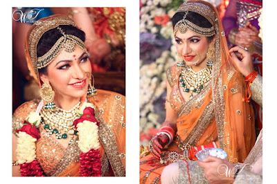 Tulsi Kumar the bride in orange ensemble