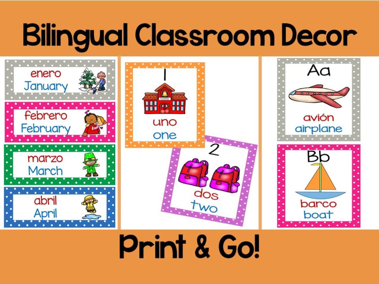 Bilingual Calendar Set and Classroom Decorations
