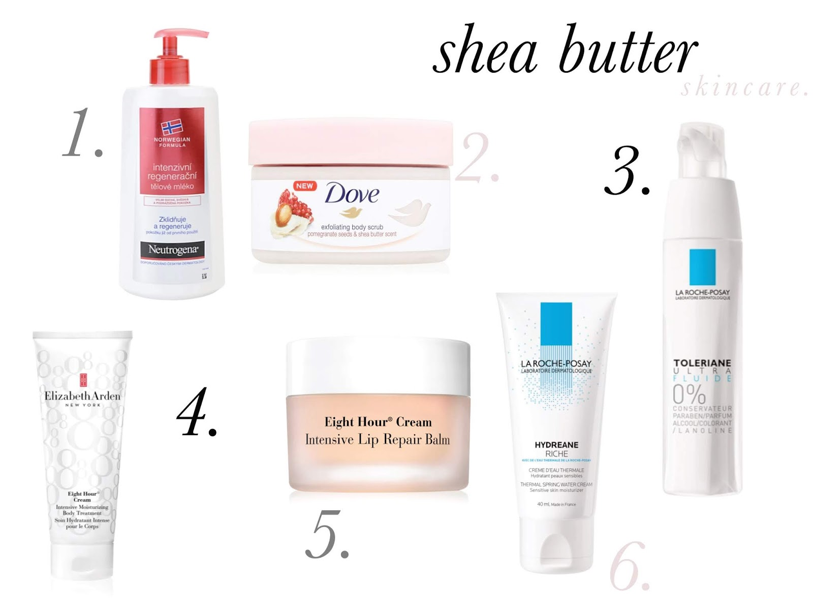 Skincare products with shea butter