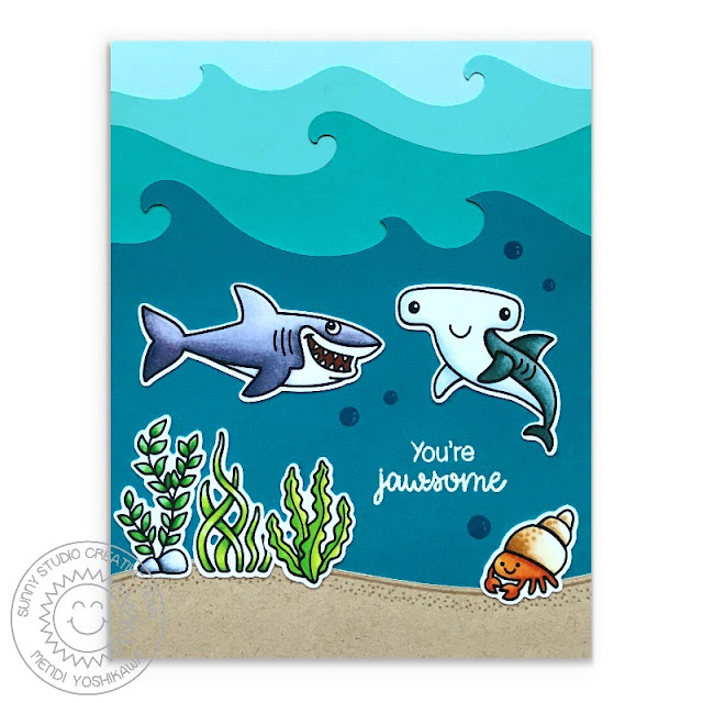 """Sunny Studio Stamps: Best Fishes Shark & Hammerhead Shark """"You're Jawsome"""" Card (using Catch A Wave Dies)"""