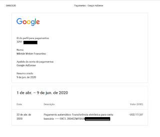 comprovante do meu pagamento do adsense youtube google - veja como ganhar dinheiro na internet