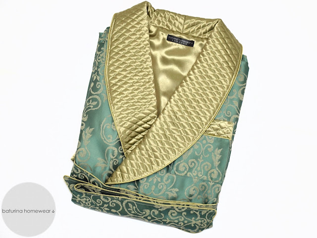 mens gold quilted silk dressing gown robe dark green paisley smoking jacket lined warm long
