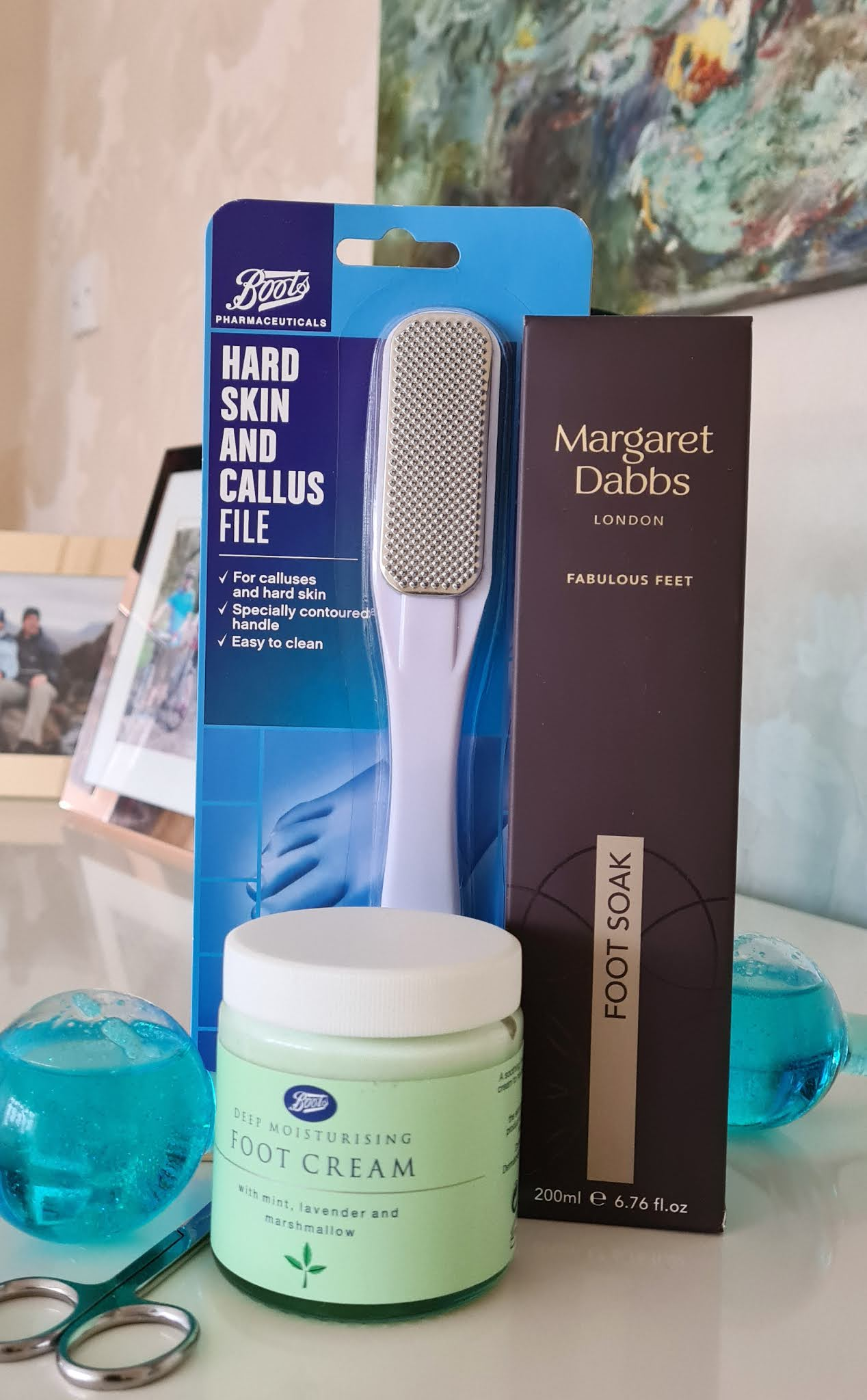 Products for a home pedicure from Boots and Margaret Dabbs