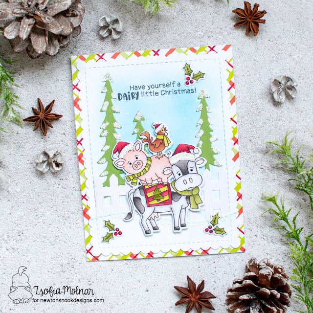 Farm Animals Christmas Card by Zsofia Molnar | Dairy Christmas Stamp Set, Land Borders Die Set, Fence Die Set, Frames & Flags Die Set and Forest Scene Builder Die Set by Newton's Nook Designs