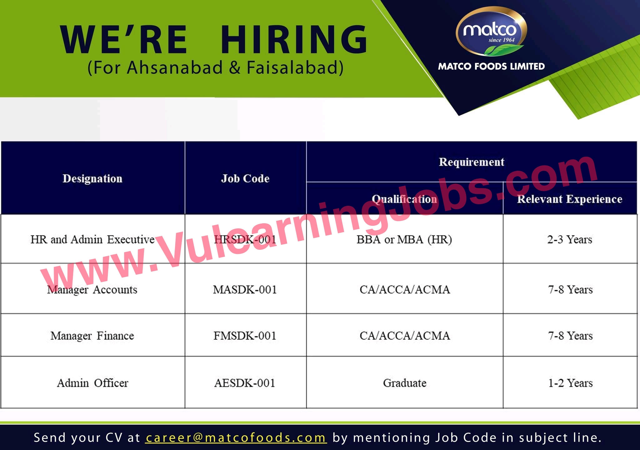 Matco Foods Limited Jobs July 2021 MTO Procurement, Engineers, Office Assistant, Quality Officer, Manager & Other Latest