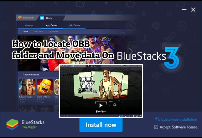 how to locate obb folder and also move data to obb folder on bluestacks 3