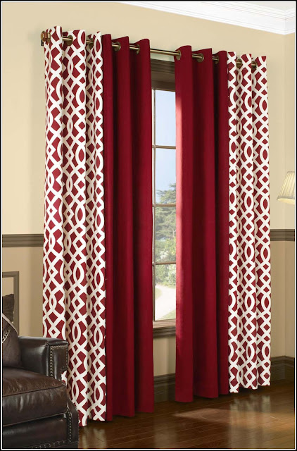 red curtain designs with printed drapes