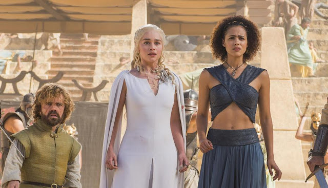 "Peter Dinklage, Emilia Clarke, and Nathalie Emmanuel in ""Game of Thrones"""