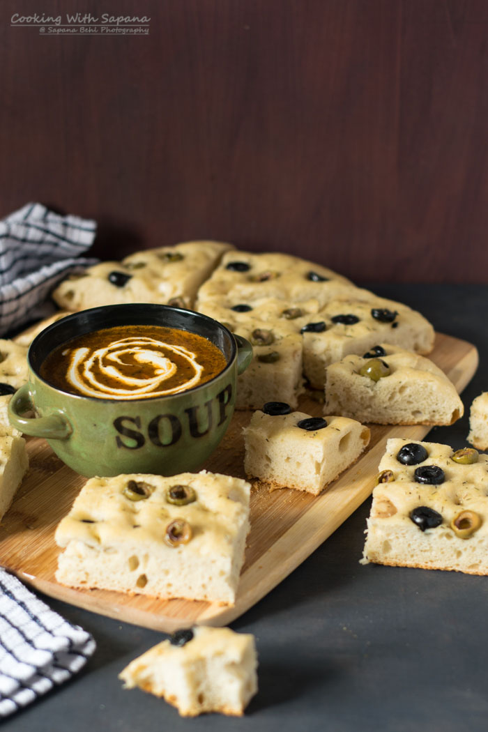 Olives Focaccia with Roasted Tomato Kale Soup