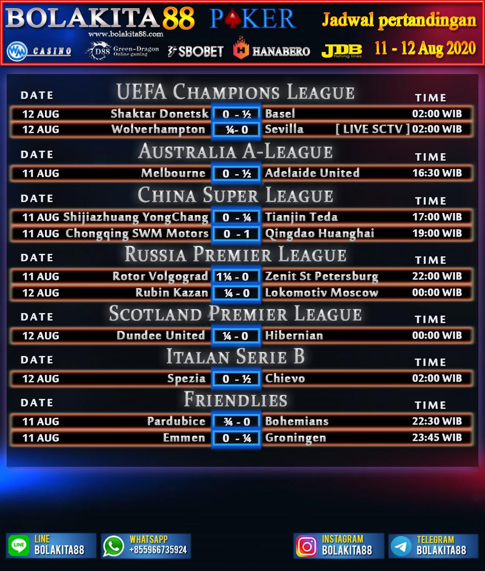 Jadwal Pertandingan Sepak Bola 11 - 12 Agustus 2020 ...