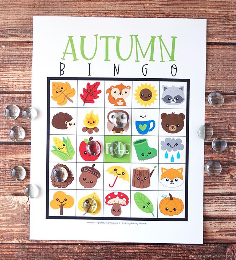 Autumn bingo activity for kids