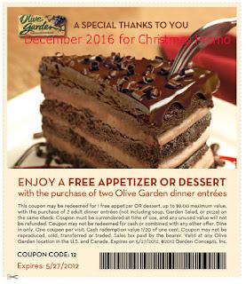 Olive Garden coupons december 2016