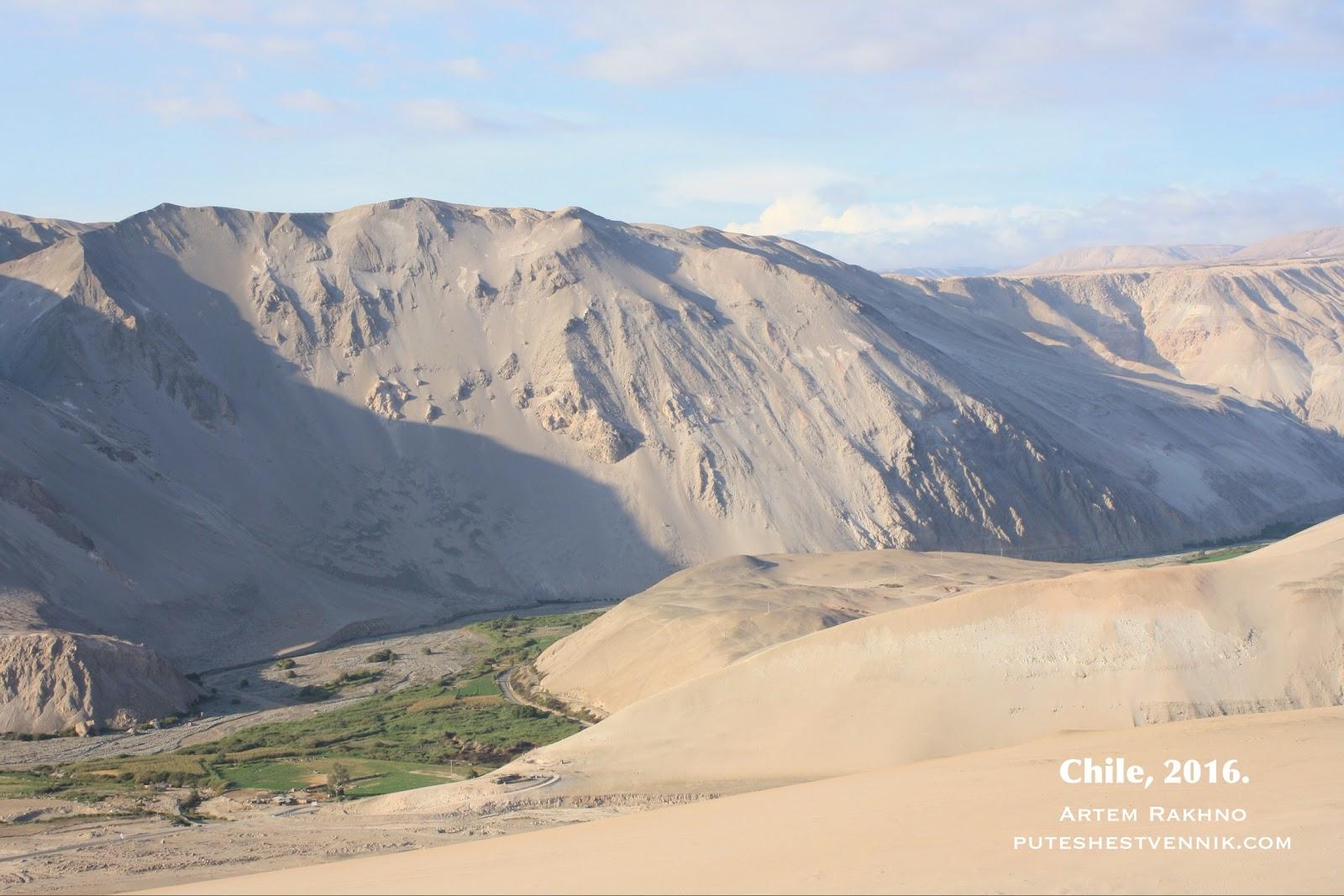 Зеленая долина среди пустынных гор