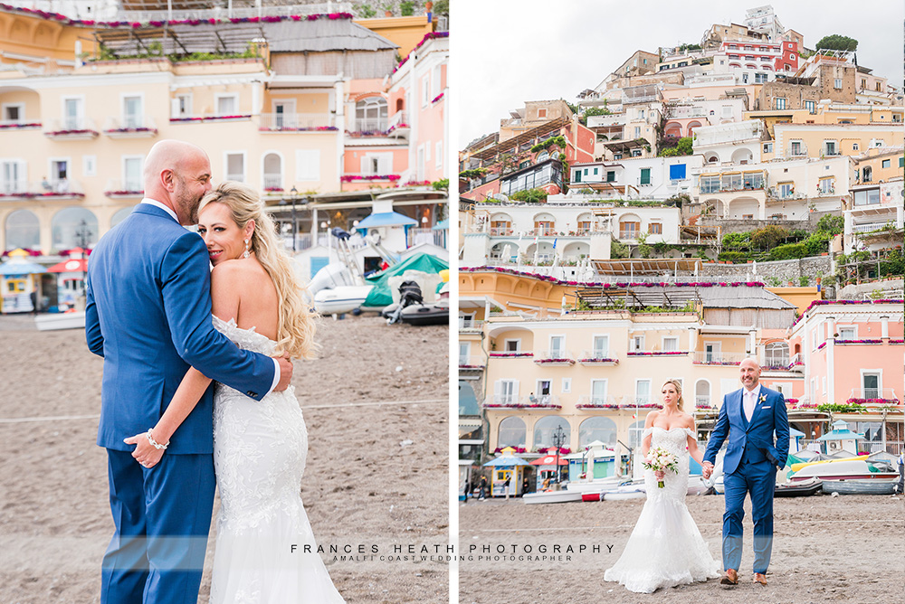 Bride & groom portrait on Positano beach