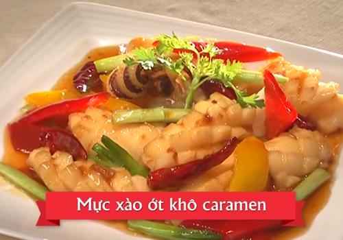 Cùng vào bếp với Mực xào ớt khô Caramen