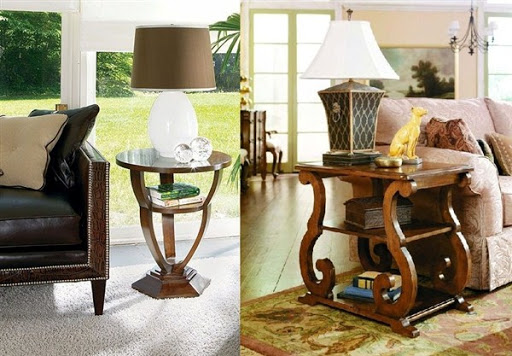 Chairside table with lamp