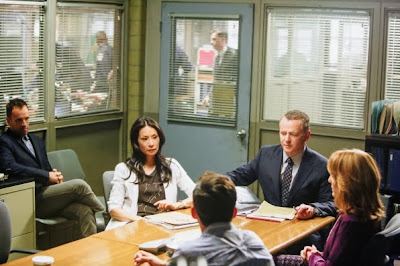 Jonny Lee Miller, Lucy Liu and Aidan Quinn as Sherlock Holmes, Joan Watson and Captain Gregson in CBS Elementary Season 2 Episode 4 Poison Pen