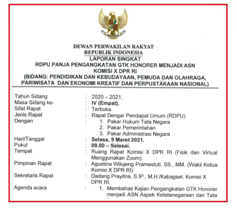 gambar Resume Hasil Sidang DPR RI Pengangkatan GTK Honorer Menjadi ASN Selasa 9 Maret 2021