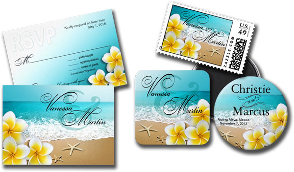 Plumeria Wedding Invitations: Wedding Cards And Gifts: Plumeria Starfish Beach Tropical