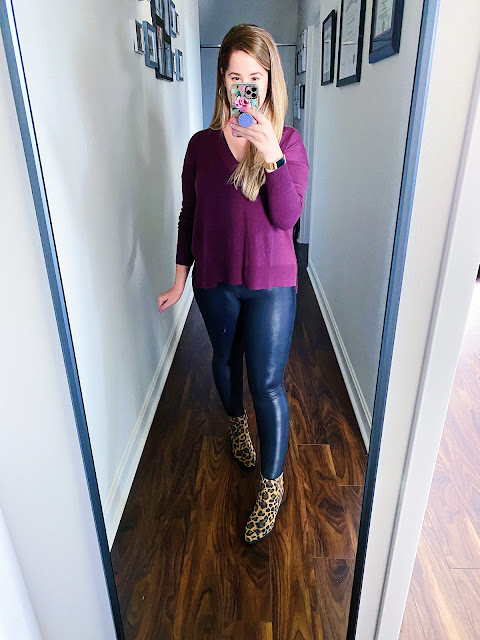purple sweater outfit fall, burgundy sweater outfit fall, spanx leggings outfit fall, leopard booties outfit fall
