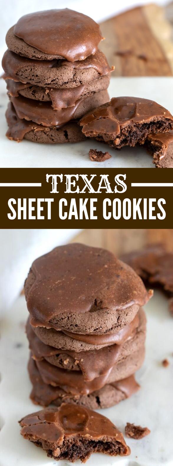 Texas Sheet Cake Cookies (Chocolate Cake Mix Cookies w/ Fudge Icing) #desserts #classic