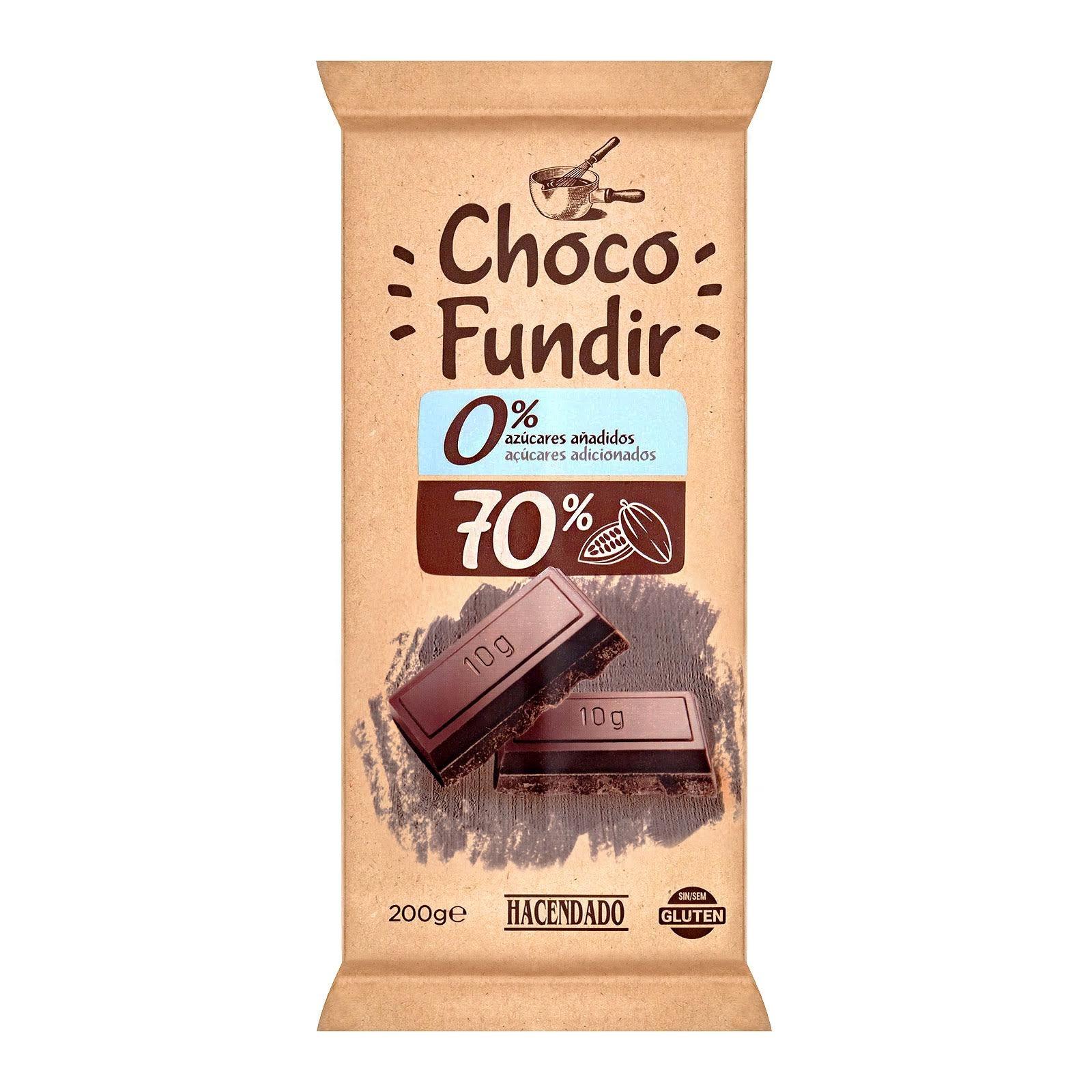 Chocolate negro para fundir 70% de cacao 0% azúcares añadidos Hacendado