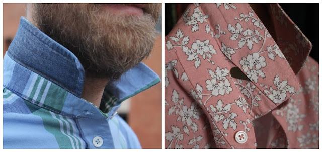 Side-by-side comparison of collars on the All-Day Shirt and the Fairfield Button-Up shirt patterns.